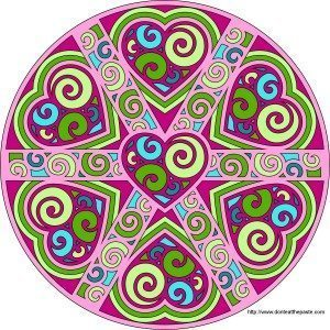 color therapy -pink and green mandala